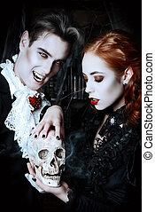 desire vimpire - Beautiful man and woman vampires dressed in...