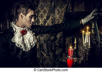traditional vimpire - Handsome vampire man wearing elegant...