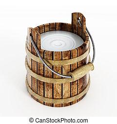 Milk bucket - Fresh milk bucket isolated on white...