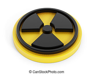 3D radiation sign isolated on white background.