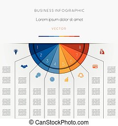 Infographic color semicircle areas on eight positions -...