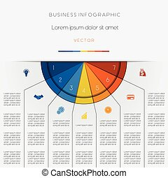 Infographic color semicircle on seven positions -...