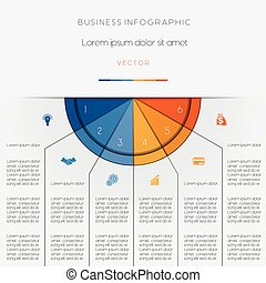 Infographic color semicircle on six positions - Infographic...