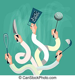 Hands Group Holding Cooking Utensils Flat Vector...