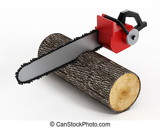 Chainsaw Cutting Timber Log isolated on white.