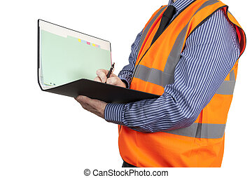 Building Surveyor in orange visibility vest writing in site...