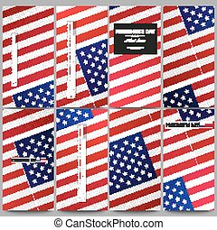 Set of modern flyers. Presidents day background with american flag, abstract vector illustration