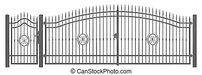 Forged decorative pedestrian and transportation mansion gate...