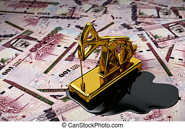 Gold Pumpjack And Spilled Oil Over Saudi Riyals 3D Scene