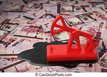 Red Pumpjack And Spilled Oil On Saudi Riyals. 3D Scene.
