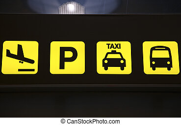 Airport Transportation Services Sign - An overhead sign at...