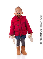 Portrait of little African American little girl isolated other white background