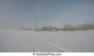 snowdrift morning fog  in fields