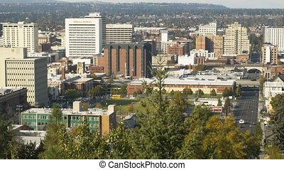 Downtown Spokane Zoom Out - Zoom Out Daytime shot of...