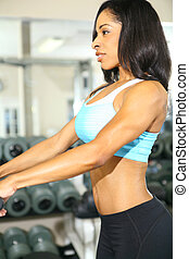 Beautiful African American Fitness In Gym Room