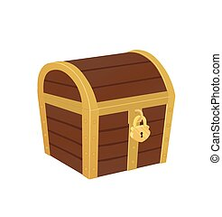 Closed Treasure Chest - Vector illustration of closed...