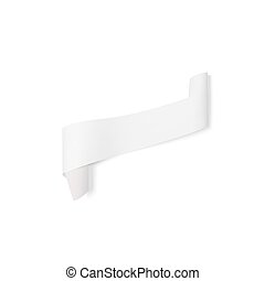 Gray paper banner, vector ribbon with shadow isolated on white