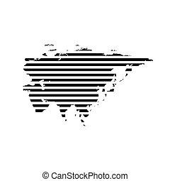 Black linear symbol of eurasia map on white, vector...