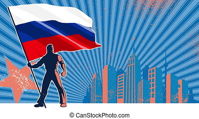 Flag Bearer Russia Background - Flag bearer holding the flag...