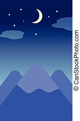 Moon star and Mountain