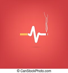 Cigarette heart bit Vector. - Consept of cigarette heart bit...