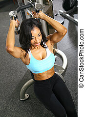 Weight Lifting - african american woman training or...
