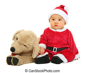 Baby Santa Claus With Stuffed Animal - adorable baby wearing...