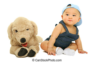 Adorable Baby Sit With His Stuffed Animal - 8 months old...