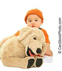 Baby Hugging Stuffed Animal - 8 months old baby hug dog...