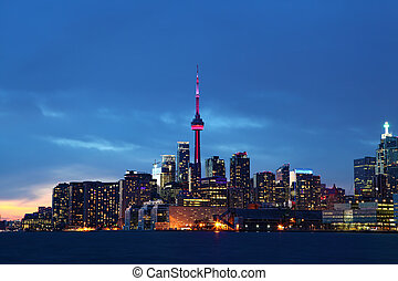 The Toronto skyline at dusk - The Toronto Canada skyline at...