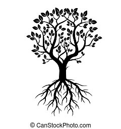 Black Tree and Roots. Vector.