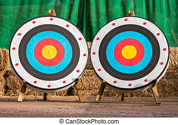 two medieval archery targets