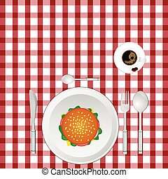 cup of coffe with hamburger on tablecloth illustration in...