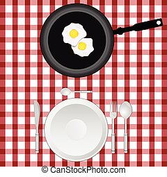 tablecloth illustration with egg and plate