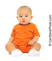 Cute Baby In Orange Shirt Puzzled - bald 8 months old baby...