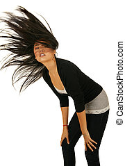 Asian Girl In Action - isolated shot of beautiful asian gril...