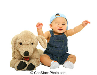 Happy Cute Baby With Stuffed Animal - happy laughin 8 months...
