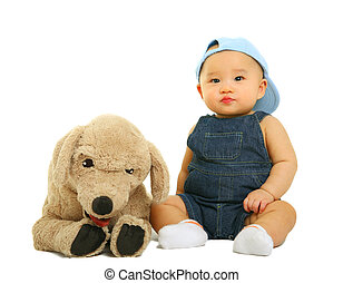 Quiet Baby With His Stuffed Animal - 8 months old baby sit...