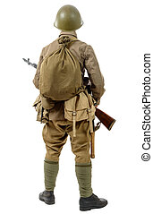 young Soviet soldier with rifle, back view, on the white...