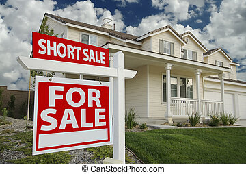 Short Sale Home For Sale Sign and House - Short Sale Home...