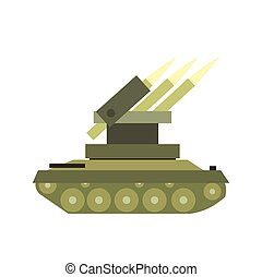 Anti-aircraft warfare flat icon isolated on white background