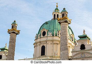 St. Charles's Church in Vienna Closeup - A closeup to part...