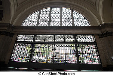 Interior details view of the beautiful major French train station of Barcelona, Spain.