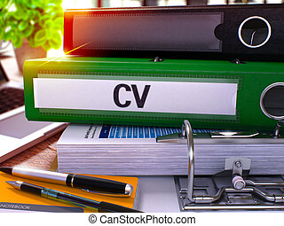Green Office Folder with Inscription Cv on Office Desktop...