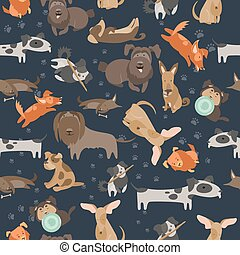 Cartoon dogs seamless pattern - Funny Mixed Breed dogs with...