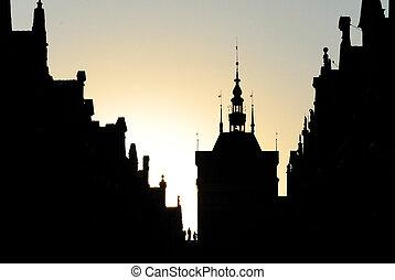 silueta, medieval, arquitectura, Casas, austro-hungarian,...