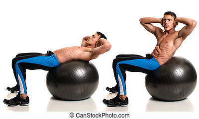 Stability Ball Exercise - Man exercising with a stability...
