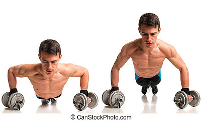 Push Up Exercise - Push-ups with dumbbells. Studio composite...