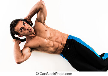 Weighted Crunch Exercise - Weighted crunch exercise. Studio...