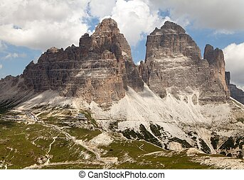 Drei Zinnen or Tre Cime di Lavaredo with beautiful sky,...